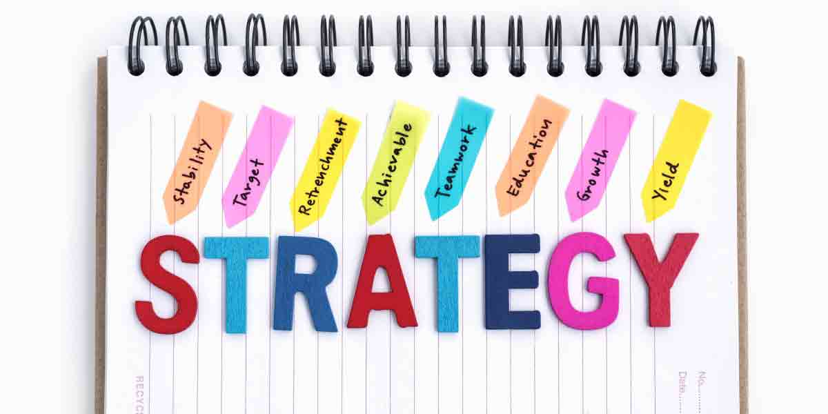 A sign showing some strategy options for sugar reduction. Options shown include stability, target, retrenchment, achievable, teamwork, education, growth and yield.