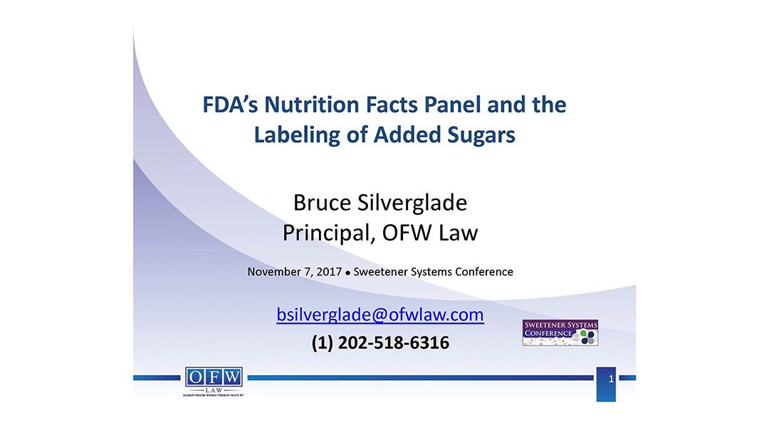FDA Labeling of Added Sugar Presentation