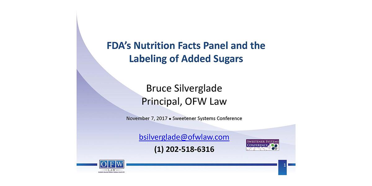 BRUCE SILVERGLADE FDA LABELING of ADDED SUGARS 2017 SSC