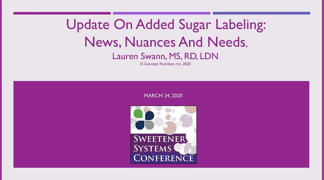 Added Sugar Labeling Update